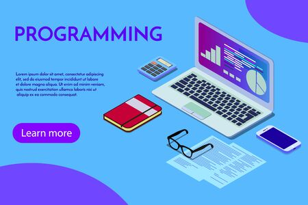 Programming concept, web engineer at work, vector images. Programmer programming web site landing page template. Isometric people, vector design. EPS