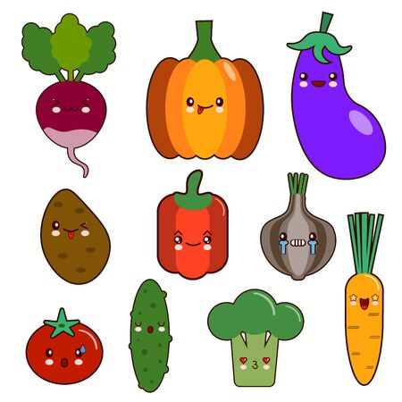 set of vegetables smiley face kawaii characters. pepper, tomato, garlic, onion, chili, potato, cucumber Flat design Vector Illustration