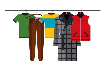 Kleiderständer mit Verschleiß auf Kleiderbügeln Set. Flacher Design-Stil. Vektorillustration des Mannes trägt EPS
