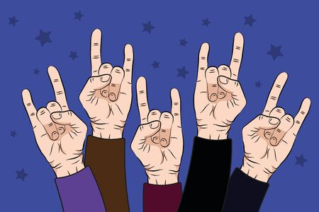 people raise rock hands up in concert with on purple color background. illustration Stock Photo