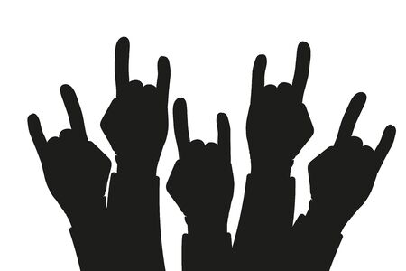 Party crowd raised rock hands silhouettes at a concert - concept of a rock background illustration Stock Photo