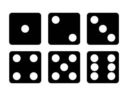 Set of Black Dice icon isolated on white background . Six dice illustration. Stock Photo