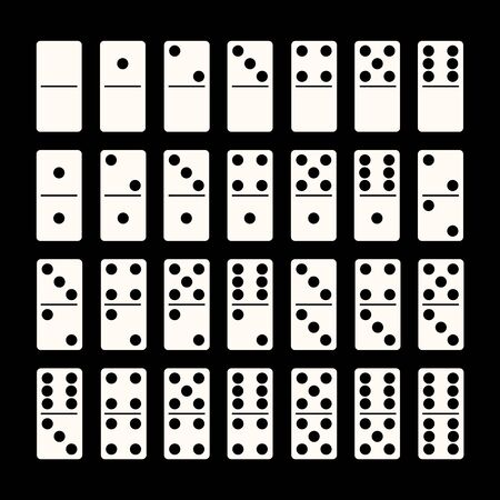 Creative illustration of realistic domino full set isolated on black background. Dominoes bones art design. Abstract concept 28 pieces for game graphic element.