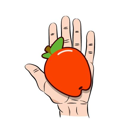Hand giving red apple icon. Cartoon illustration of hand giving red apple icon for web isolated on white background