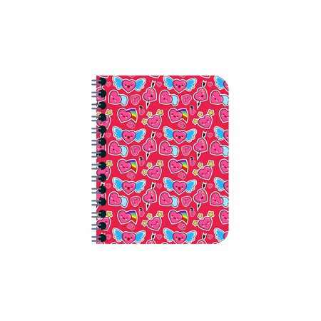 Closed notebook, personal diary on a spiral with bookmarks. With a bright cover texture with different emotions heart. Colorful flat illustration isolated on white background Stok Fotoğraf