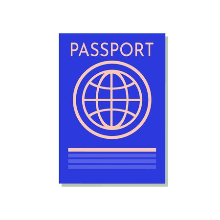 Blue passport isolated on white. International identification document for travel. image about identification, travel, check-in, tourism, passport control, vacation, citizenship, trip, etc