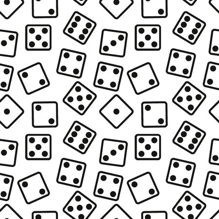 Gambling Dices Seamless Pattern on White Background. illustration.