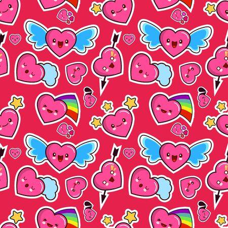 Seamless pattern, background, wallpaper, texture with different emotions heart. Collection of emoticons for site, info graphics illustration.