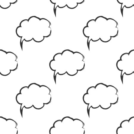Seamless pattern with speech bubbles Welcome background. Doodle speech bubble pattern. Friendship design for your skin device or website Stock Photo