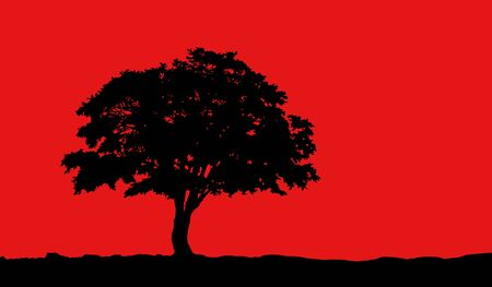 tree at hill black silhouette illustration on red background Stock Photo