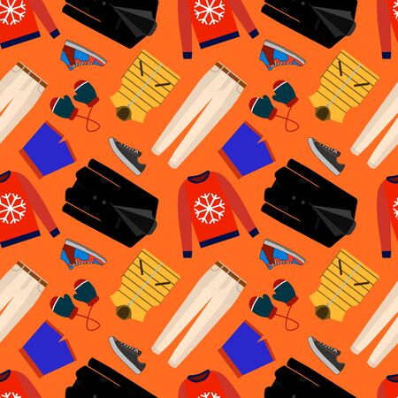 Seamless patterns of male clothes, shoes and accessories for online store. Men s wear backgrounds for shops. stock clipart.
