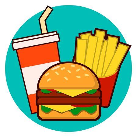 Cartoon fast food combo - hamburger, french fries, soda illustration isolated on background