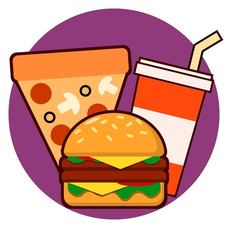 Fast food combo icon hamburge pizza drink illustration Stock Photo
