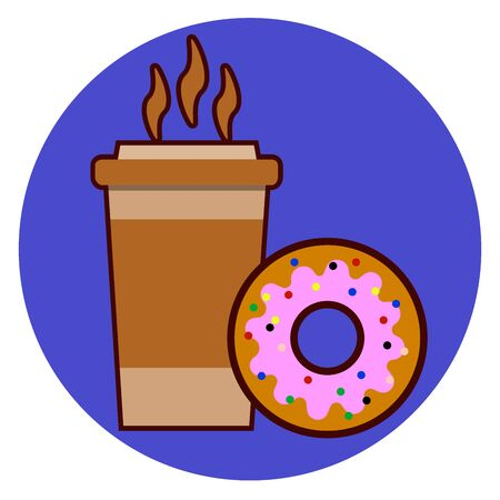 Coffee cup and donut icon illustration isolated on background