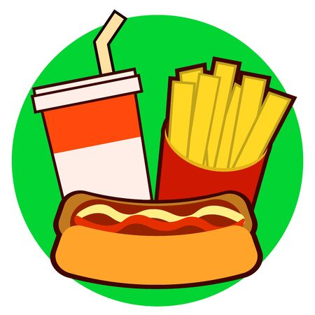 Colorful fast food on tray. Hot dog, french fries, soda illustration isolated on background