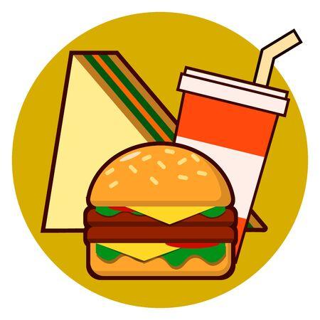 Cartoon fast food combo icon - hamburger, sandwich, soda illustration isolated on background Stock Photo