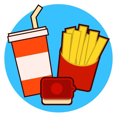 Fast food combo icon with french fries and soda on a blue background illustration