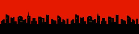 The silhouette of the city in a flat style. Modern urban landscape. illustration red sky