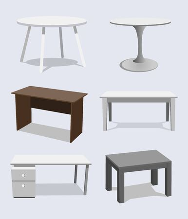 Empty Table Set . Wooden, Plastic, White, Black. Isolated Furniture, Platform. Template For Object Presentation. Realistic Illustration.