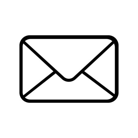 Email icon. Outline email icon isolated on white background illustration