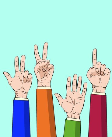 Hand thump up show number one to five design. illustration on blue background