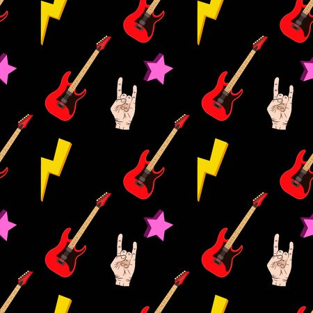 Seamless pattern with hands showing cool rock and roll signs. Hand drawn background for your design. Иллюстрация