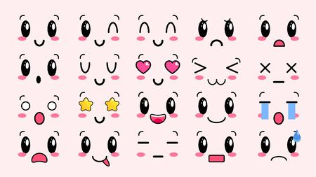Kawaii cute faces. Manga style eyes and mouths. Funny cartoon japanese emoticon in in different expressions. For social networks.