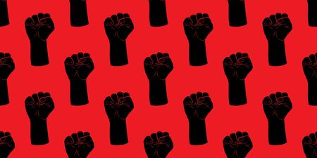 Raised fists silhouette seamless pattern. Vintage texture. Protest or revolution. Flat vector Illustration isolated on red background. textile, wallpaper design, wrapping paper or web.