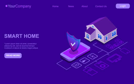 Smart home isometric controlled smartphone. Internet of things technology of automation system. Small house standing near mobile phone and wireless connections with home electronics devices. Stock Illustratie