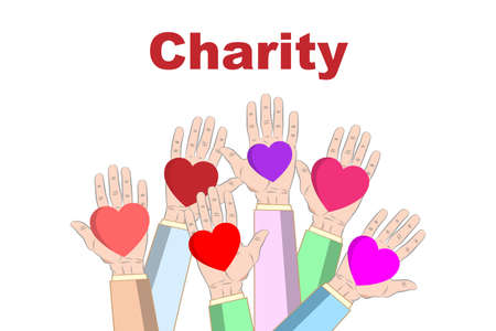 Concept of charity and donation. Give and share your love to people. Hands holding a heart symbol. Flat design, vector illustration Reklamní fotografie - 151312344