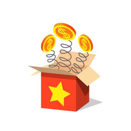 Unboxing present gift surprise box, dollar sign light beam lence flare explosion. Bonus unlock prize winner illustration. EPS Stock Illustratie