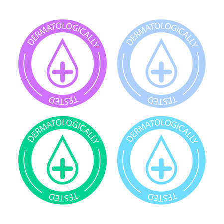 Dermatologically tested vector label with water drop logo. Dermatology test and dermatologist clinically proven icon for allergy free and healthy safe product package tag Vectores