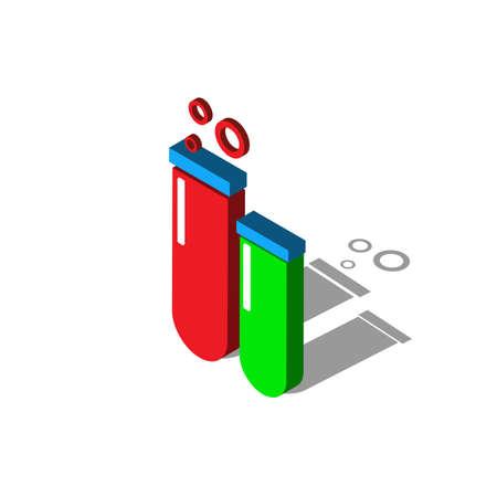 laboratory chemical beaker isometric flat icon. 3d vector colorful illustration. Pictogram isolated on white background