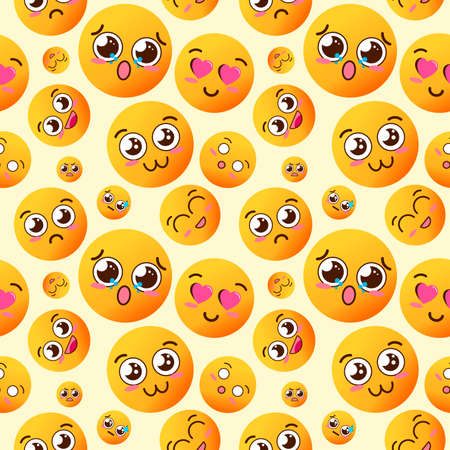 Seamless pattern with kawaii cheerful and happy smileys for textiles, interior design, for book design, website background Banco de Imagens
