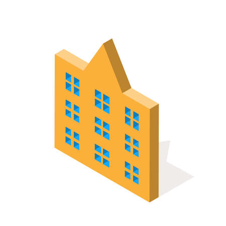 Isometric school on a white background. Isolated. Vector illustration. EPS