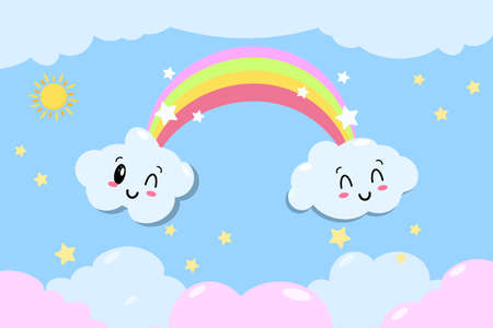 Cute vector rainbow with clouds and heart - kawaii style illustration from children fairytale with stars EPS 向量圖像