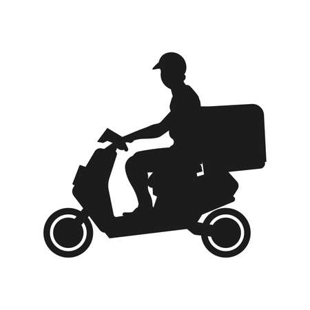 Shipping fast delivery man riding motorcycle icon silhouette symbol, Pictogram flat design for apps and websites, Isolated on white background, Vector illustration