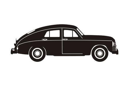 schwarze russische Retro-Auto auf dem weißen Hintergrund