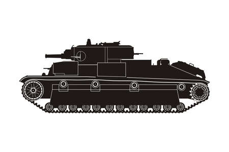 armoured: black tank on the white background