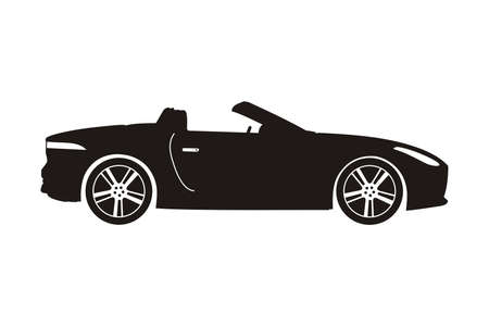cabriolet: icon car cabriolet black on the white background Illustration