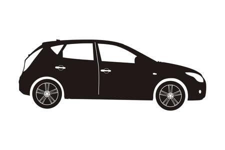 hatchback: icon car hatchback black on the white background