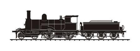 vintage train illustration vector silhouette Иллюстрация