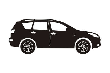 crossover: icon car crossover black on the white background