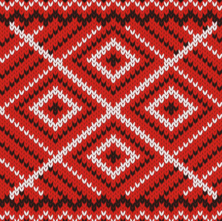 ornamented: red and white knitted fabric seamless ornamented background Illustration