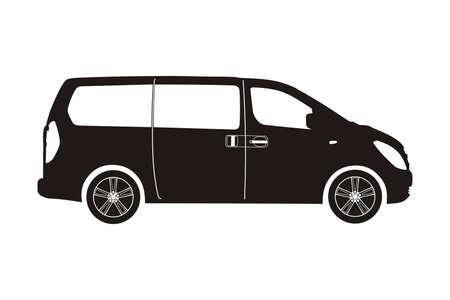 icon car minivan black on the white background