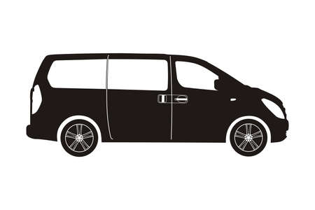 icon car minivan black on the white background