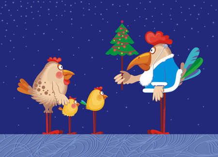 deign: the family of chickens are celebrating christmas