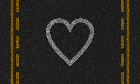 demarcation: asphalt background with painted hearts and stripes