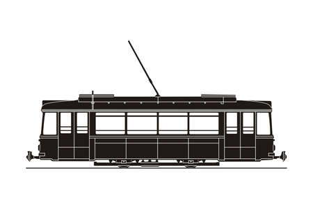 tramcar: black tram silhouette on the white background