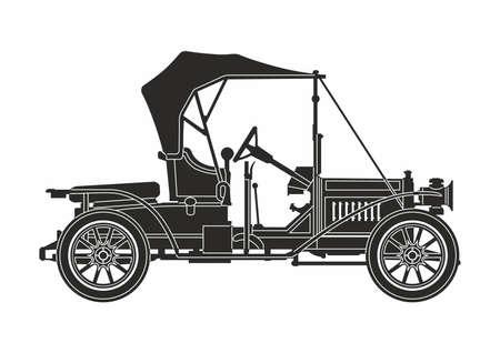 pictogram retro auto zwart op de witte achtergrond